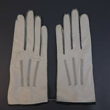 Vintage CHANEL White Leather Gloves w/ Black Stitching Sz 7 Made in France