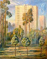 painting art Zikunov socrealism vintage decor city landscape old tree morning
