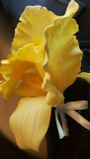 Beautiful Artificial Deep Yellow Orchid Wedding Corsage with Ivory Satin Ribbon