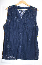 Style & Co Womens Plus 3X Navy Blue Lace Sleeveless Button Down Top Blouse NWT