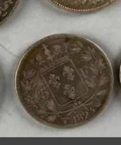 5 Francs Louis XVIII 1823 W Tranche En Relief, difficile à trouver !!