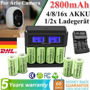 2800mAh CR123A CR123R 16340 Wiederaufladbare Akku & Ladegerät für Arlo Kamera