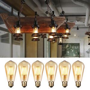 6Pcs ST64 E27 Vis Vintage LED Ampoules Edison Ampoule Filament Lampe Blanc LB