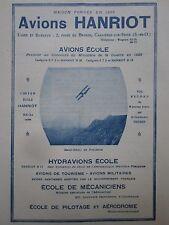 1926 PUB AVIONS HANRIOT ST REMY PROVENCE AVION HYDRAVION ECOLE ORIGINAL AD