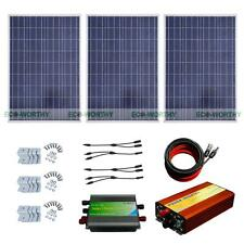 300W Solar Panel Kit 3*100W Solar Module w/ 1KW 220V Off Grid Inverter for Home