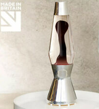 Mathmos Astro Polished Silver Lava Lamp with Plum Black In Clear Liquid.