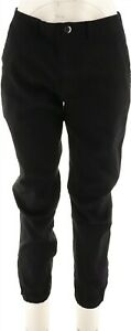 Lisa Rinna Collection Banded Bottom Skinny Ankle Jeans Black 8 # A294463