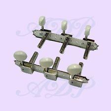 Meca Vintage KLUSON 3+3 Slotted Head 1:15 OnPlate NICKEL Tuners WHITE B M3KVPW-2