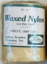 "LUDLOW 420 WAXED NYLON LACING TAPE, 660 yard roll (1980ft), color is ""natural"""