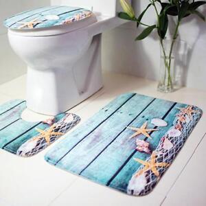 Toilet Rugs Set Anti Slip Modern Design Washable Floor Mats House Bathroom 3 Pcs