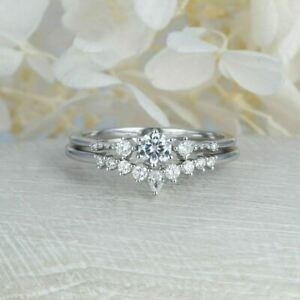 14K White Gold Plated 0.58 CT Round Cut Diamond Wedding Engagement RingFor Her