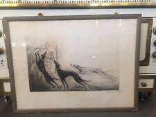 ICART Louis lithographie femme aux lévriers signée numérotée