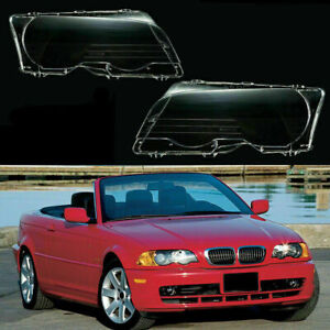 Pair Front Headlight Lamp Light Cover Clear Lens for BMW 323ci 325ci 328ci 330ci