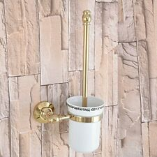 Bathroom Accessory Gold Color Brass Ceramic Toilet Brush and Holder Set Zba314