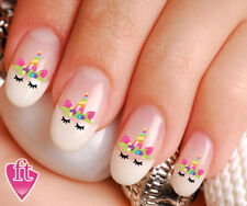 Unicorn Face Flowered Crown Horn Nail Decal Stickers UNI103