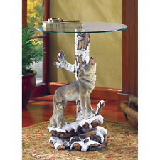 HOWLING WOLF & CUB END SIDE ACCENT TABLE DECOR~37918