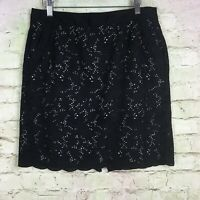 Ann Taylor LOFT Skirt Size 8 Petite Women Pencil Eyelet Embroider Black Pockets