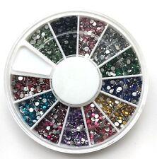 1200 Straßsteine rund,  STRASS Rondell 12 Farben 1,5 mm