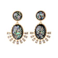 orecchini Dorato Candeliere Floreale Ovale Blu Art Deco Retrò XX25