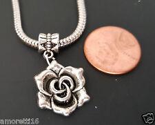 Rose Flower Celtic Triskele Spiral  Pendant fits Silver European Charm Bracelets