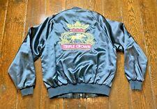 Vintage Pla-Jac By Dunbrook Triple Crown Satin Jacket - Men's Size 40/42 Black