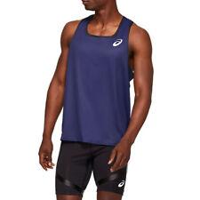 Asics Hommes Tricot Débardeur De Top Jogging Haut Sport Sans Manches - Bleu