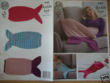 MERMAID TAIL SNUGGLER BLANKET KNITTING PATTERN FOR BABY - ADULT KING COLE 4692