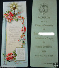 OLD FIRST COMMUNION REMEMBRANCE HOLY CARD YEAR 1905 SACRED HEART OF JESUS CC1234