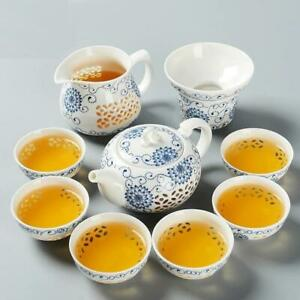 Ceramic Teapot Kettles Set Blue White Exquisite Cup Porcelain Chinese Drinkware
