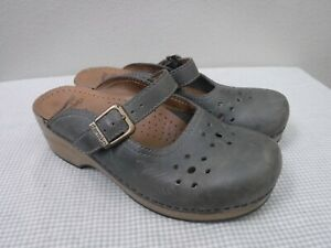DANSKO MERRIE 6.5 7 37 Gray Leather Staple Slides Buckle Clogs Mules Mary Janes