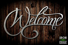 Welcome Sign Metal Door Wall Art Home Decor Vintage Rustic Gate Farmhouse USA