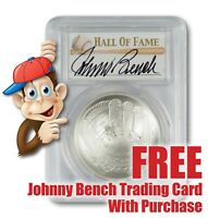 2014-P Baseball HOF Silver $1 -- PCGS MS69 -- Hand Signed By Johnny Bench