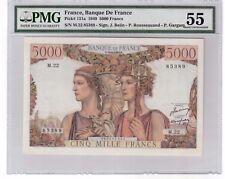 "France 5000 Francs Banknote 1949 Pick# 131a PMG About UNC 55 "" Vintage """