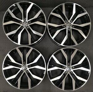"Set of 4 x 17"" Santiago Style Black/Polished Alloy Wheels Only Volkswagen Golf"