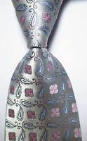 New Classic Paisley Silver Gray Blue JACQUARD WOVEN 100% Silk Men's Tie Necktie