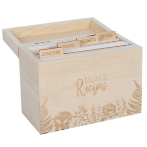 Wooden Mum's Recipe Card Box with Dividers & Cards - Gift - Recipe Storage - New