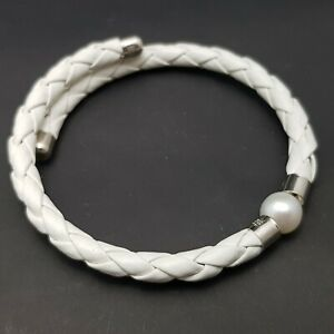 Sterling Silver TGGC Braided Leather & Freshwater Pearl Bracelet Bangle - White