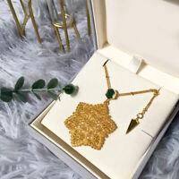 Collar Colgante Estrella Hexagonal Malaquita Verde Encaje Chapado Oro 18K GD3