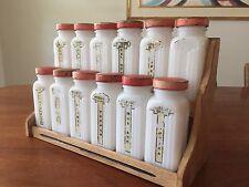 Vintage ~ Set of 12 ~ Griffith Milk Glass Spice Jars Red Lids in Original Rack