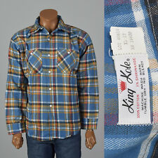 Xxl 1960s Deadstock All Cotton Flannel Shirt Vtg Blue Woven Plaid Long Sleeves