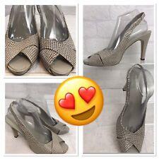 Dorothy Perkins Slingback Shoes Sandal Beige Natural Snakeskin UK 7 Leather V113