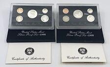 (2) 1998 Silver 5 Coin Proof US Mint Sets w Original Boxes & COA - Actual Sets
