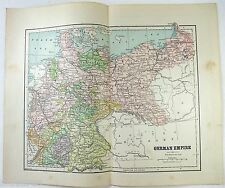 Original 1891 Map of The German Empire by Hunt & Eaton