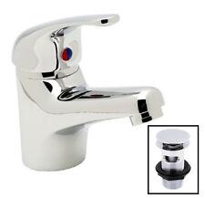 Modern Chrome Mini Mixer Basin Tap & Click Clack Waste Chrome Bathroom Cloakroom