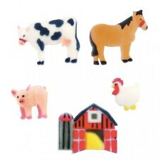 Sugar Decorations Cookie Cake Cupcake Cow Horse Pig FARM 12 ct.