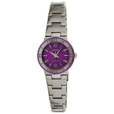 Casio LTP1368D-6A Ladies Purple Dial Metallic Stainless Steel Dress Watch NEW