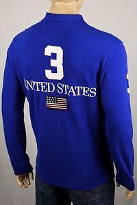 Ralph Lauren XL Bleu États-unis Coupe Ajustée Grand Blanc Queue de Cheval Nwt