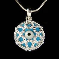 Round Circle Frustum Enamel paint ~Turquoise Evil Eye~ Protect Ward Off Necklace