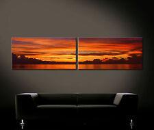 Llameante Cielo - Cuadro Lienzo Pared Mural Impresión Rojo Naranja Gelb Moderno