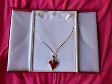 Vtg.MEXICO RED JASPER HEART Within The HEART Sterling Silver 925 CHOKER NECKLACE
